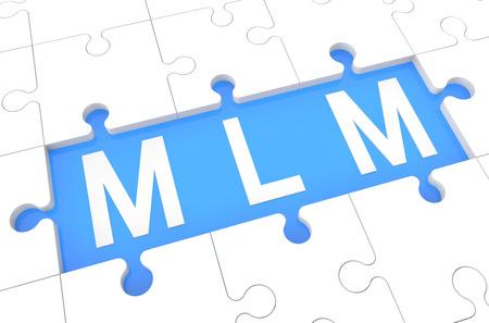 multi level: Multi Level Marketing - puzzle 3d render illustration with word on blue background