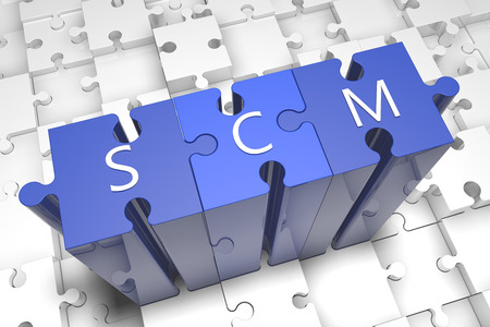 variance: Supply Chain Management - puzzle 3d render illustration with text on blue jigsaw pieces stick out of white pieces Stock Photo