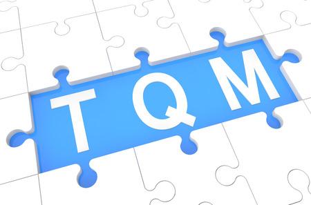 Total Quality Management - puzzle 3d render illustration with word on blue background illustration