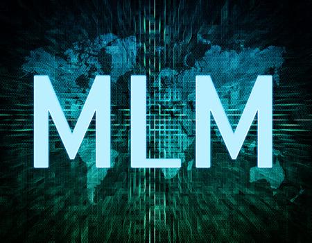 multi level: Multi Level Marketing text concept on green digital world map background