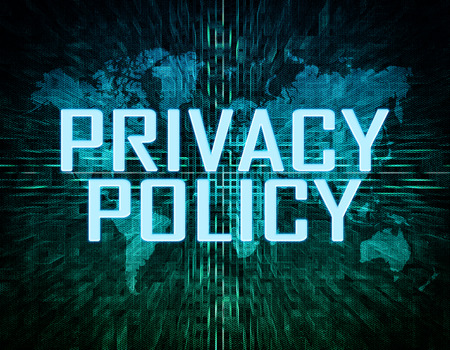 Privacy Policy text concept on green digital world map background  photo