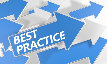 oefenen: Best Practice 3d render concept met blauwe en witte pijlen vliegen over een witte achtergrond.