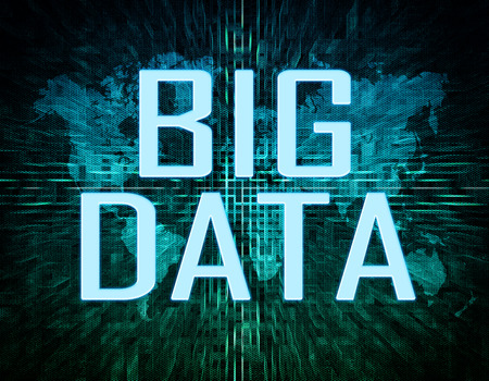 Big data text concept on green digital world map background  photo