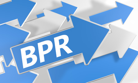 bpr: Business Process Reengineering 3d render concept with blue and white arrows flying over a white background.