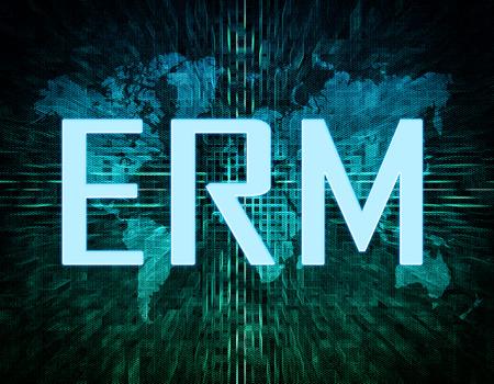 erm: Enterprise RiskResource Management text concept on green digital world map background