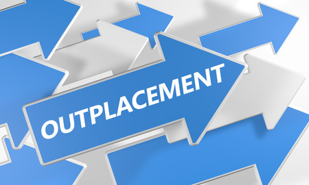 Outplacement 3d render concept with blue and white arrows flying over a white background. Stock Photo