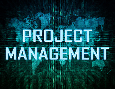 Project Management text concept on green digital world map background  photo