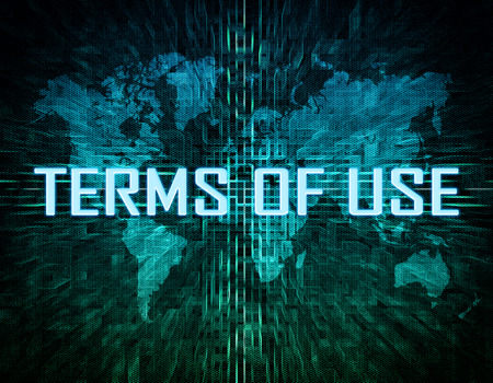 use regulation: Terms of use text concept on green digital world map background
