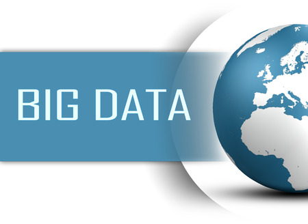 Big Data concept with globe on white background photo
