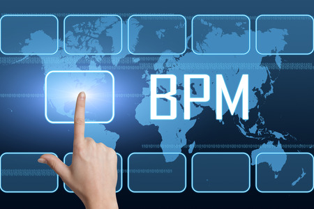 bpm: Business Process Management concept with interface and world map on blue background Stock Photo