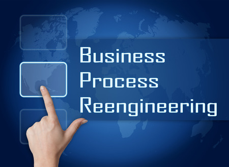 business process reengineering: Business Process Reengineering concept with interface and world map on blue background