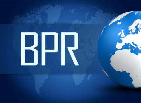 bpr: Business Process Reengineering concept with globe on blue world map background Stock Photo