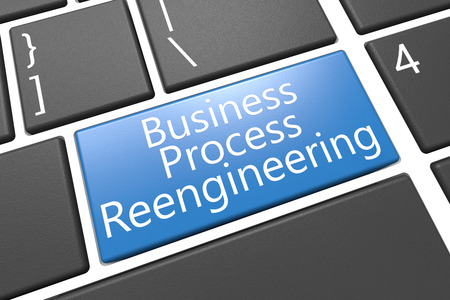 bpr: Business Process Reengineering - keyboard 3d render illustration with word on blue key