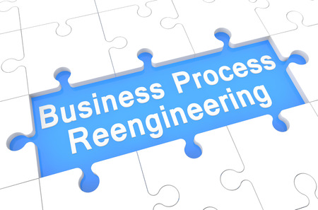 redesign: Business Process Reengineering - puzzle 3d render illustration with word on blue background Stock Photo