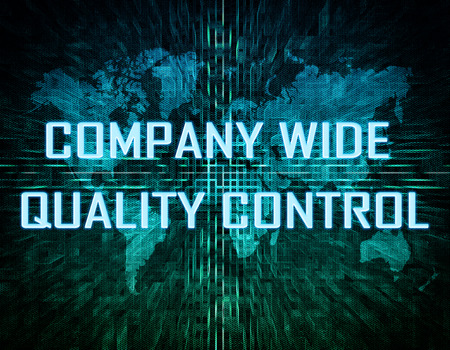structuring: Company Wide Quality Control text concept on green digital world map background