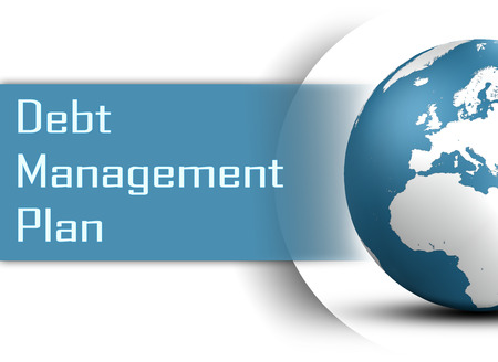 debt management: Debt Management Plan concept with globe on white background