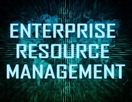 Enterprise Resource Management  text concept on green digital world map background  Stock Photo