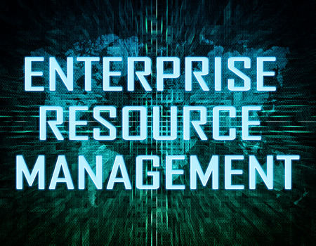 erm: Enterprise Resource Management  text concept on green digital world map background  Stock Photo
