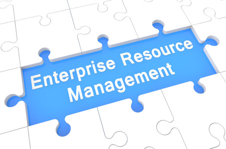 Enterprise Resource Management  - puzzle 3d render illustration with word on blue background
