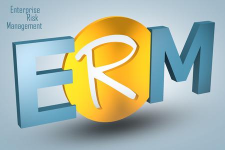 erm: Enterprise Risk Management  - acronym 3d render illustration concept