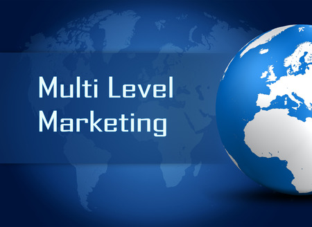 mlm: Multi Level Marketing concept with globe on blue world map background