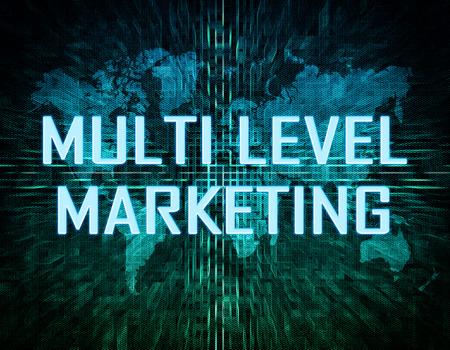 multilevel: Multi Level Marketing text concept on green digital world map background