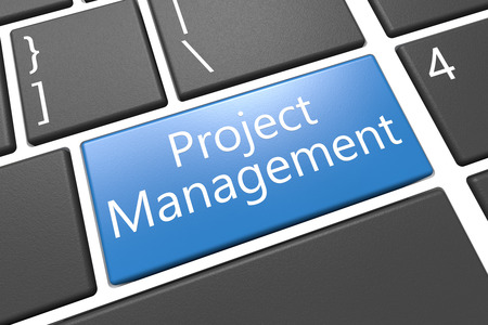 Project Management - keyboard 3d render illustration with word on blue key illustration