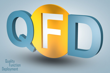 Quality Function Deployment - acronym 3d render illustration concept illustration