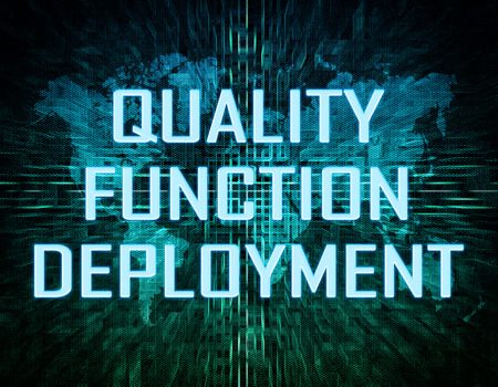 Quality Function Deployment text concept on green digital world map background  photo