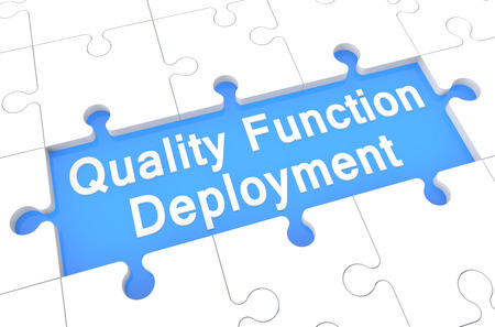 deployment: Quality Function Deployment - puzzle 3d render illustration with word on blue background