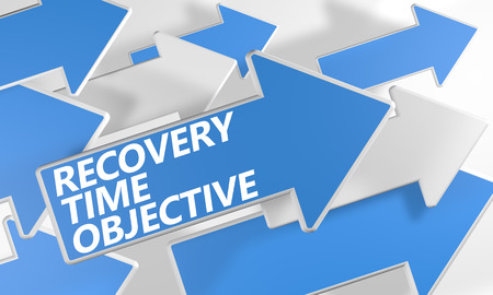 Recovery Time Objective 3d render concept with blue and white arrows flying over a white background.