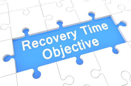 time critical: Recovery Time Objective - puzzle 3d render illustration with word on blue background