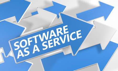 Software as a Service 3d render concept with blue and white arrows flying over a white background. photo