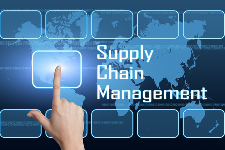 Supply Chain Management concept with interface and world map on blue background photo
