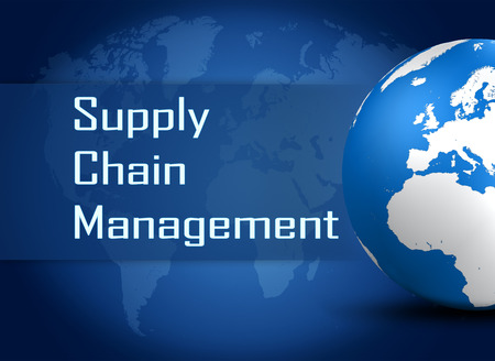 Supply Chain Management concept with globe on blue world map background photo
