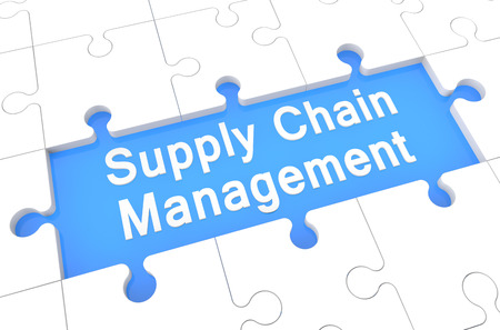 Supply Chain Management - puzzle 3d render illustration with word on blue background illustration