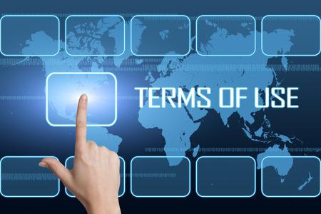 インターフェイスと世界の地図青の背景と利用の概念の用語