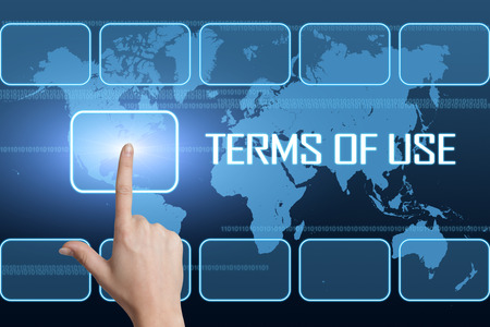 Terms of use concept with interface and world map on blue background