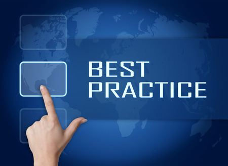 Best Practice concept with interface and world map on blue background photo