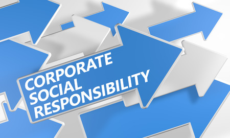 Corporate Social Responsibility 3d render concept with blue and white arrows flying over a white background. photo