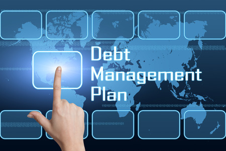debt management: Debt Management Plan concept with interface and world map on blue background