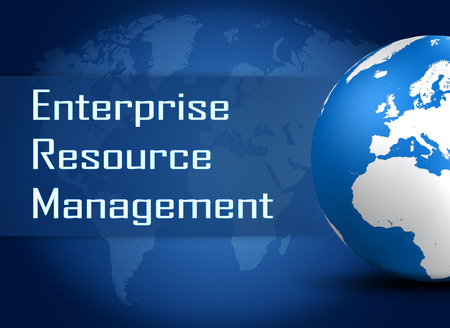 erm: Enterprise Resource Management  concept with globe on blue world map background Stock Photo