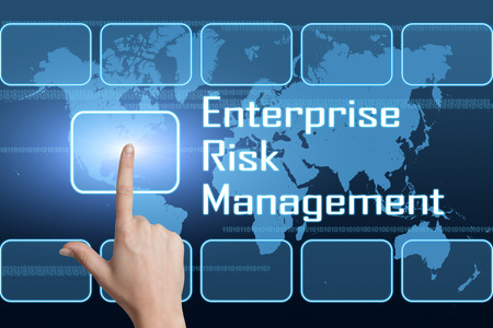 Enterprise Risk Management  concept with interface and world map on blue background