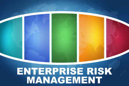 Enterprise Risk Management text illustration concept on blue background with colorful world map Stock Photo
