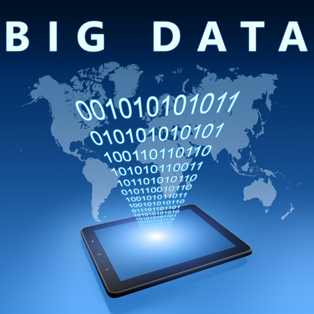 Big Data illustration with tablet computer on blue background illustration