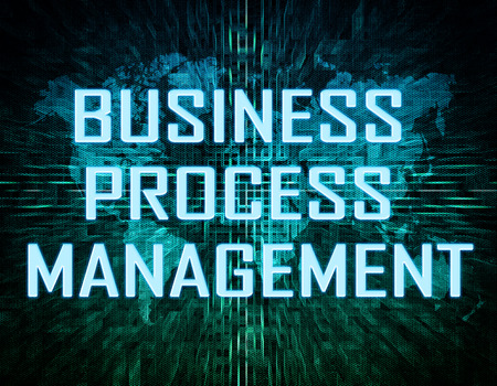 bpm: Business Process Management text concept on green digital world map background