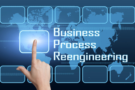 bpm: Business Process Reengineering concept with interface and world map on blue background