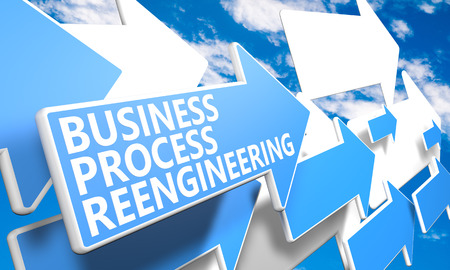 bpr: Business Process Reengineering 3d render concept with blue and white arrows flying in a blue sky with clouds