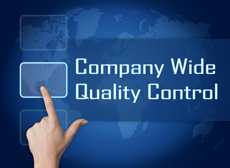 product design specification: Company Wide Quality Control concept with interface and world map on blue background Stock Photo