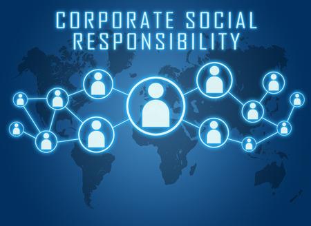 기업의 사회적 책임 세계지도 및 사회적 아이콘으로 파란색 배경에 텍스트 개념. 스톡 콘텐츠